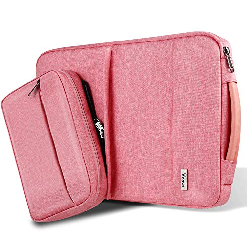 Voova 13 13.3 Inch Laptop Sleeve Case for women and girls Compatible MacBook Pro/MacBook Air, 13.5'Surface Book 2, 13' Chromebook, Waterproof Computer Bag Cover with Detachable Small Pouch&Handle-Pink