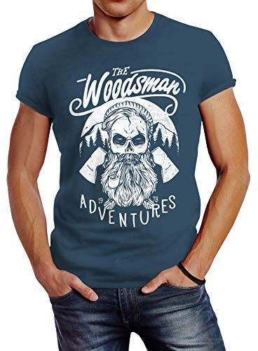 Neverless Herren T-Shirt Lumberjack Woodsman Hipster Bart Beard Skull Totenkopf Slim Fit Denim Blue XL