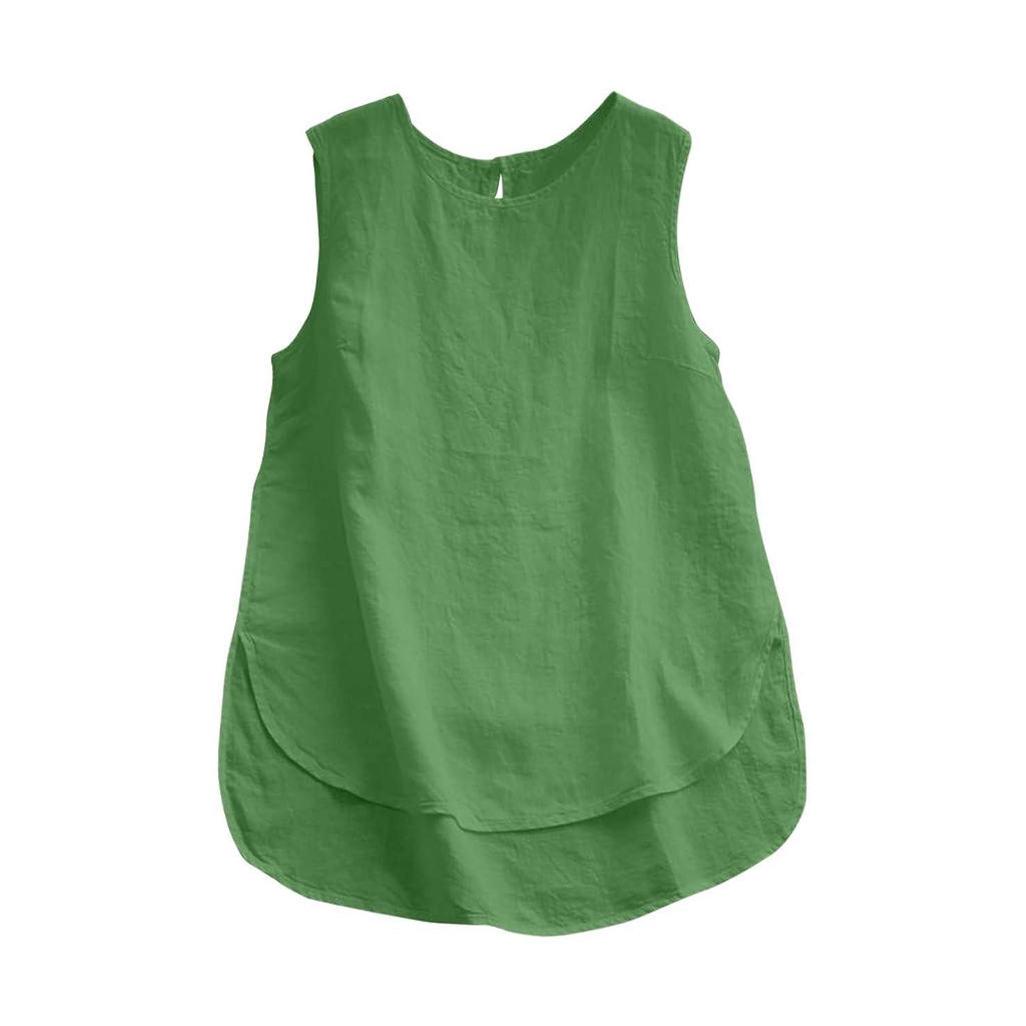 Sunyastor Cotton Linen Tank Tops for Women Sleeveless Plus Size Casual Loose Vintage Solid Vest Blouse