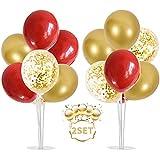 Balloon - Soporte de mesa transparente,Globos Claros Soporte Holder con 16 Globos,para globos de fiesta de cumpleaños y decoración de boda (Oro rojo)