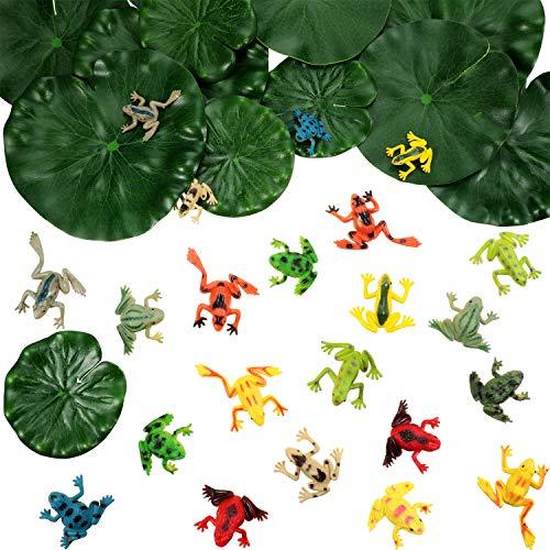 Gejoy 36 Stücke Kunststoff Frosch Set inklusiv 24 Stück Winzigen Plastik Frosch und 12 Stück Künstliche Schwimmende Lotusblätter für Teich Pool Dekorationen Party Zubehör