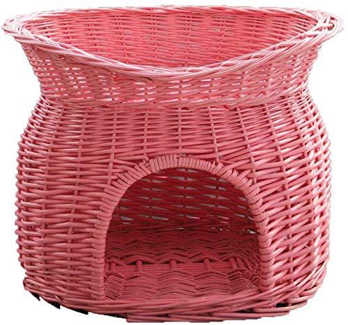 YLCJ Kattentoilet van rotan Oven Seasons Villa op twee verdiepingen, Teddy Kenel Willow, wasbaar, roze, 43 x 33 cm, 53 * 38cm, Roze