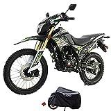 X-Pro 2021 Version Hawk DLX 250 EFI Fuel Injection 250cc Endure Dirt Bike Motorcycle Bike Hawk Deluxe Dirt Bike Street Bike Motorcycle with Motorcycle Cover, Bluetooth Speaker and Phone Bracket(Green)