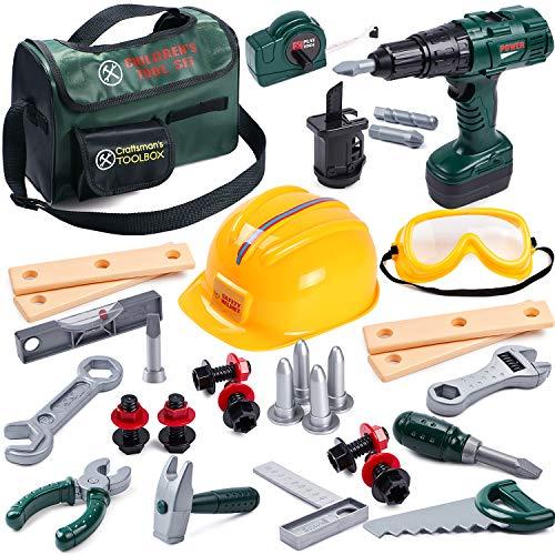 Toyssa 32Stk. Kinder Werkzeug Spielzeug Set Spielwerkzeug mit Werkzeugtasche Bohrmaschine Spielzeug Werkzeugkoffer Werkzeugzubehör Spielzeug Geschenk für Kinder Jungen 3 4 5 6 7 8 9