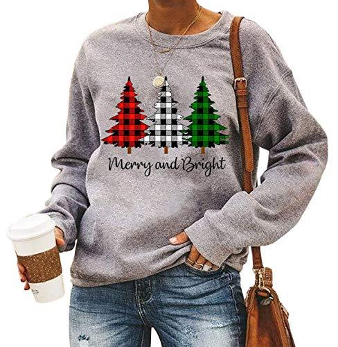 Merry and Bright Shirt Women Funny Leopard Printed Plaid Christmas Trees Long Sleeve Sweatshirts Xmas Graphic Tees Grey