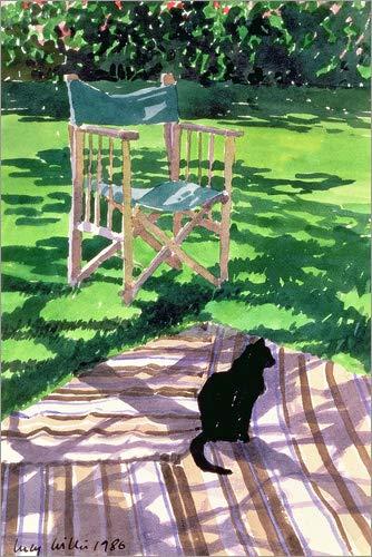 Poster 60 x 90 cm: Schwarze Katze und Klappstuhl von Lucy Willis/Bridgeman Images - hochwertiger Kunstdruck, neues Kunstposter