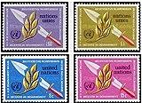 FGNDGEQN Sello Suministros Naciones Unidas 1973 sello armas de guerra militar Olivo rama desarme 2 pegamento crudo completo todos los productos