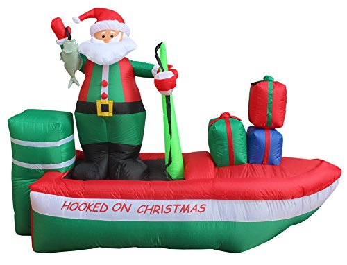 8 Foot Long Inflatable Santa Claus on a Fishing Boat