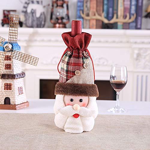 HuXwei Weihnachtsdekorationen, kreative Neue Bar, Tabelle, Rotwild, Rotwein, Sektflasche, Weinflasche, Tasche, neues Leinen, Weinset des Alten Mannes