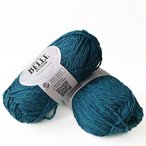 Ovillo de hilo de algodón, viscosa y lino, caída Belle, DK, peso de estambre ligero, 1.8 oz 131 yardas