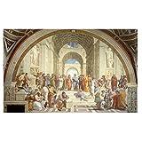 アテナイの有名な絵画インテリアアートパネルスクールラファエルキャンバスポスタープリント北欧の壁アートパネル写真リビングルームホームヴィンテージ装飾50x70cmx1フレームなし