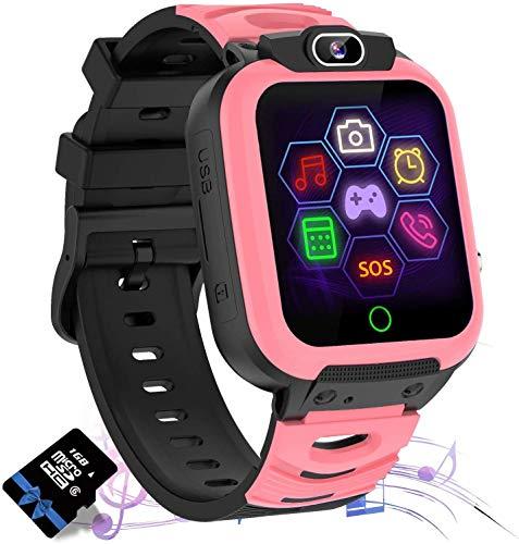 Smartwatch Bambini con Lettore Musicale - Gioco Puzzle Telefono SOS Smart Watch con Scheda SD Sveglia Fotografica Regalo di Compleanno Festival per Ragazzi e Ragazze Touch Screen