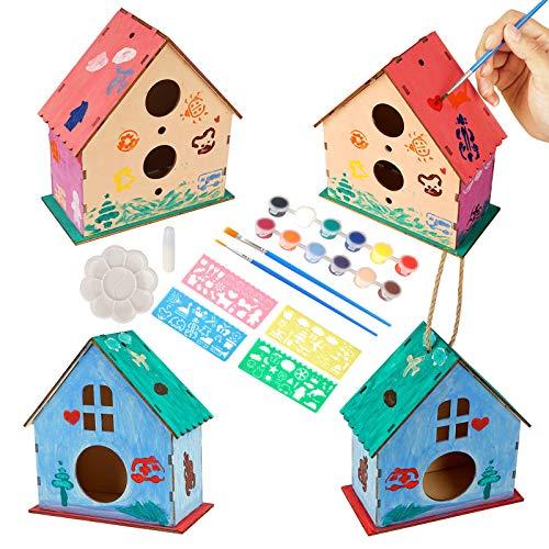 Colmanda DIY Holz Vogelhaus Bausatz, DIY Vogelhaus Bemalen Kits, Vogelhaus Bausatz, Kinder Holz Vogelhaus Bastelset, DIY Holz Vogelhaus Kits Bauen, für Kinder Geburtstag Weihnachten (1)