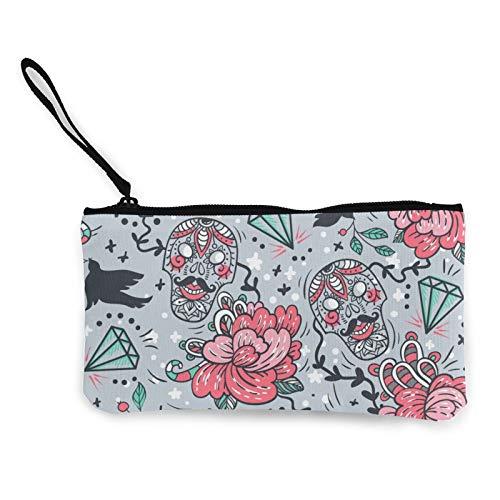 Moneda de lona, calaveras, diamantes y rosas, bolsa de cosméticos con cremallera, bolsa de maquillaje multifunción para teléfono móvil, bolsa con asa