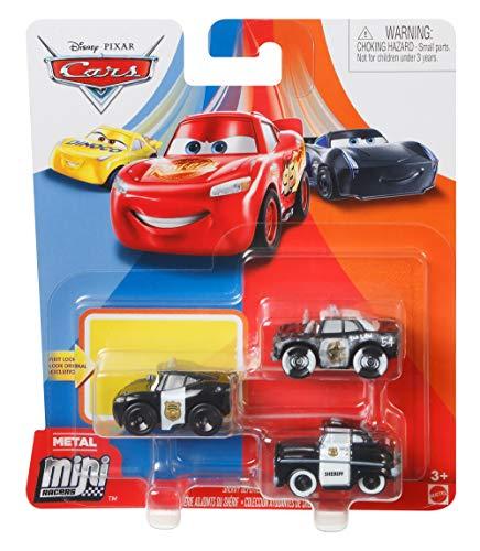 Disney Pixar Cars GKG60 Mini Racers 3er-Pack Sheriff Deputies - Sheriff, Officer Mc Queen, APB