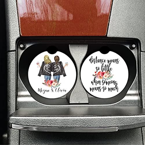 DKISEE Regalos personalizados Bestie, regalo de larga distancia, regalo para mudanza, posavasos de coche, BFF, distancia significa tan poco - X1960