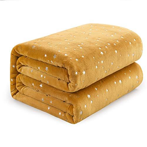 NANPIPER Blanket Fluffy Ultra Soft Fleece Starry Foil Blanket All Season Microfiber for Bed/Girls/Women(Twin Size 65'x80',Ginger)