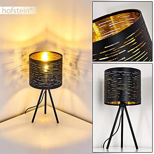Tischleuchte Bathinda, Tischlampe aus Metall/Kunststoff in Schwarz/Gold, 1 x E14-Fassung max. 25 Watt, Leseleuchte im Retro-/Vintage-Design mit Lichteffekt u. An-/ Ausschalter am Kabel, LED geeignet
