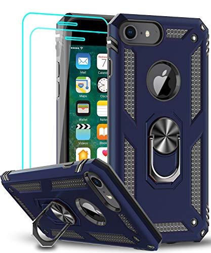 LeYi Compatible for iPhone 8 Case, iPhone 7 Case, iPhone 6s/ 6 Case with Tempered Glass Screen Protector [2 Pack], Military-Grade Protective Phone Case with Ring Kickstand for iPhone 6/6s/7/8, Blue