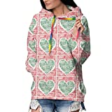 HelloWorldA - Sudadera con Capucha para Mujer, diseño con Texto We Love The Holidays Heart Casual Hooded Tops Negro XL