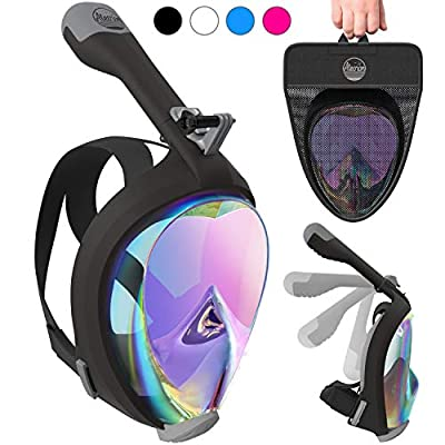 Aleoron - Foldable Full Face Snorkel Mask for Adults and Youth (Women & Men) - Anti Fog Snorkeling Mask Full Face with Action Camera Mount - UV Panoramic 180 Dive Mask Seaview Diving Mask Set