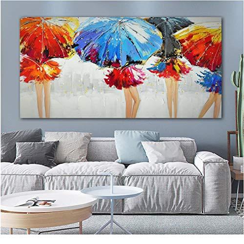 Jwqing abstracte kunst meisjes paraplu regen kleurrijke afbeeldingen canvas schilderij muurkunst schilderijen voor woonkamer poster en prints Home Decor (50x100cm No Frame)