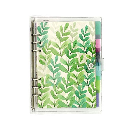 A5 6-Ring Loose Leaf Binder Journal from Chris.W, w/ 80 Insert Pages(Dot Grid/Square Grid/Ruled/Blank) + 6 Index Divider Tabs + 1 Clear Page Maker + 1 Ziplock Pouch Included, Refillable