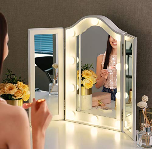 LUXFURNI Vanity Lighted Tri-fold Makeup Mirror with 10 Dimmable LED Blubs, Touch Control Lights Tabletop Hollywood Cosmetic Mirror (White)
