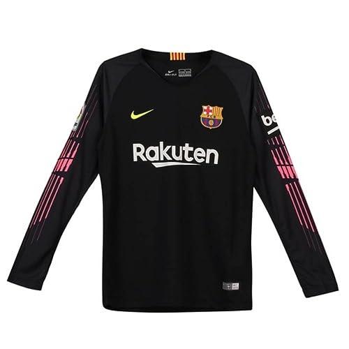 ed173d839fd Nike 2018-2019 Barcelona Home Goalkeeper Football Soccer T-Shirt (Black) -