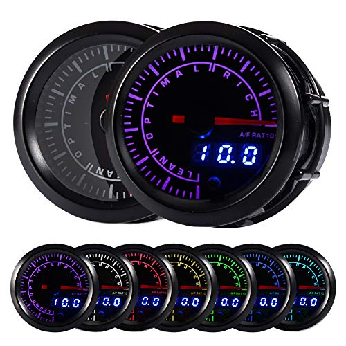HOTSYSTEM 7 Color Air/Fuel Ratio AFR Gauge Kit Narrowband Pointer & LED Digital Readouts 2-1/16' 52mm Black Dial for Car Truck