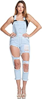 G-Style USA American Bazi Women's Distressed Ripped Jean Skinny Denim Overalls