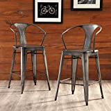 OFM 161 Collection Industrial Modern 4 Pack 26' Mid Back Metal Armchair Stools, Galvanized Steel Indoor/Outdoor Bar Stools with Oversized Seats, in Gunmetal