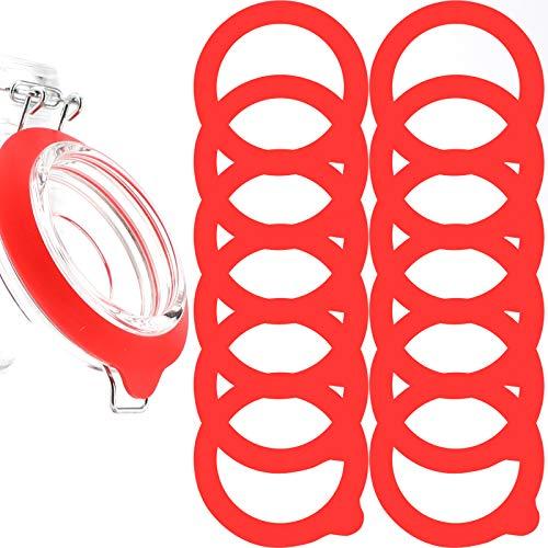 LUTER Silikon Glasdichtungen Ersatz, Auslaufsichere Silikon Dichtungen Luftdichte Dichtungsringe (Rot)