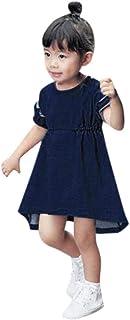 Yumiki 女の子 ドレス 可愛い ソリッド無地 プリンセス デニム ノースリーブ 幼児 赤ちゃん ワンピース 最新 ノースリーブ スカート お姫様 春 夏 おしゃれ プリンセス 通園 通学 入園式