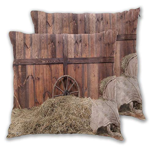 MOBEITI Square Cushion Cover 50x50cm 2 pieces Set,Rustic Hay Bale Wood Western Barn Background Cowboy Theme Rural Life,decorative Throw Pillow Case for Couch Sofa Chair Bed Home office Decor