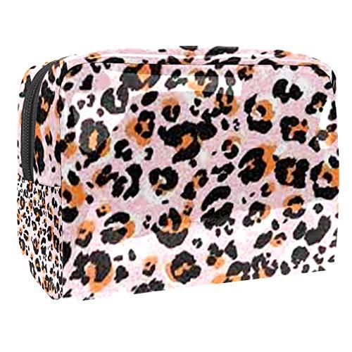 Bolsa de maquillaje portátil con cremallera, bolsa de aseo de viaje para mujeres, práctica bolsa de almacenamiento cosmético con patrón de leopardo