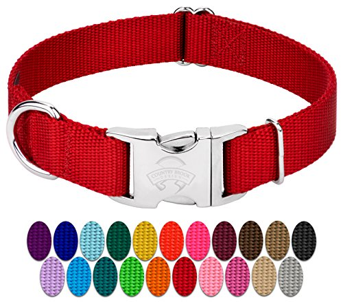 Country Brook Design - Vibrant 25 Color Selection - Premium Nylon Dog Collar with Metal Buckle (Extra Large, 1 Inch, Red)
