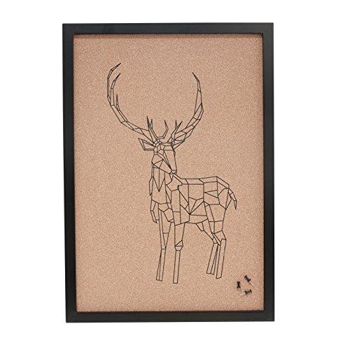 Broches de cerf avec impression murale, bois/Liège 40 x 2 x H47 cm