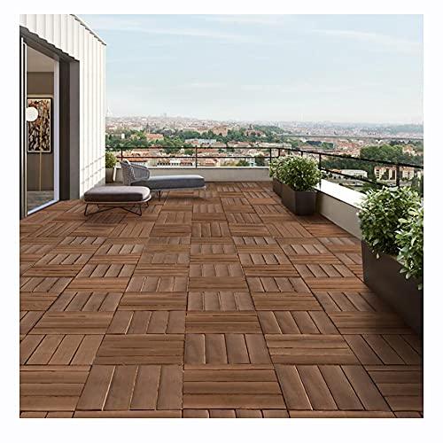 LIUNA Alfombra Diagonal Decking Tiles Alfombra de baldosas de Madera Dura Baldosas de Madera Que se entrelazan Patio, balcón, terraza en la azotea, bañera de hidromasaje (Size:30x30cm,Color:8pcs)