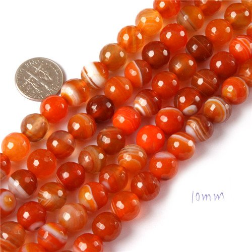 GEM-inside Stripe Agate Gemstone Loose Beads Natural 10mm Round Faceted Red Crystal Energy Stone Healing Power for Jewelry Making 15