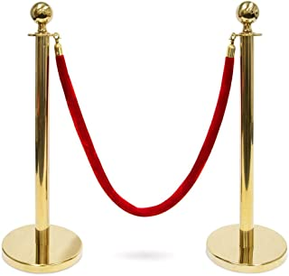 Yaheetech Stanchion and Velvet Ropes Crowd Control Barriers Velvet Ropes and Posts Red Rope Stanchion Set w/ 6.5FT red ropes