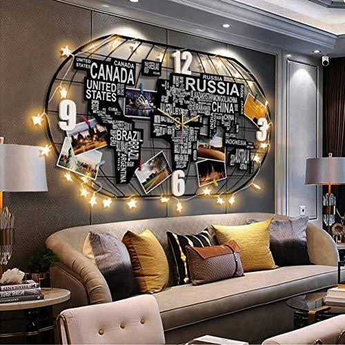 DDGOD Mappa del Mondo Orologio da Parete,Grande 3D Orologio A Muro,Nordic Decorazione Orologio con LED,Silenzioso Non-ticchettio Quarzo Orologio da Parete,per Home,Soggiorno F 100x52cm(39x20inch)