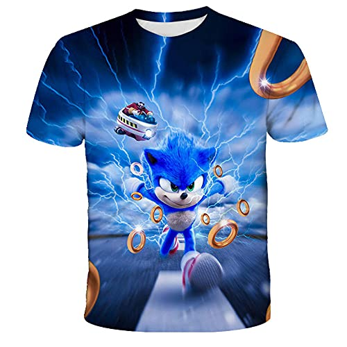 MDGCYLFD Sonic The Hedgehog T-Shirt 3D pour Hommes Anime T-Shirt à Manches Courtes et col Rond Kawaii, Convient aux Amateurs de Manga d'été Anime