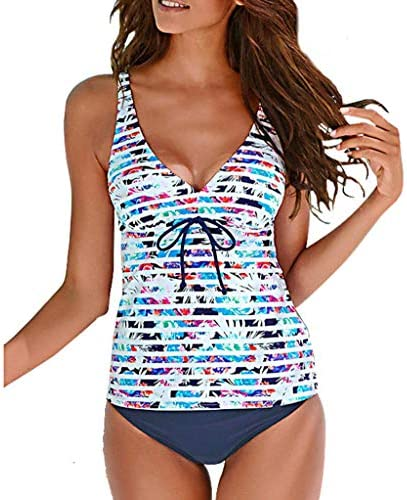 Stripes Backless Tankini Top with Bottom for Women Teens Swimsuit 2 Pcs Bravetoshop Navy XL product image