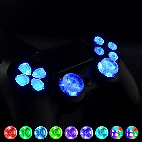 eXtremeRate Luminoso Joysticks Botones de acción dirección Botón de reemplazo 7 Colores 9 Modos Control táctil para el Mando del PlayStaion 4 PS4 Original Slim Pro