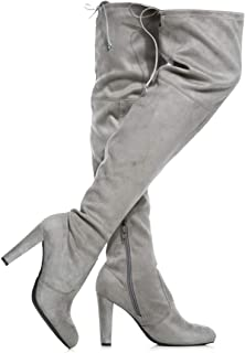 Women's Over The Knee Boots - Sexy Drawstring Stretchy Pull on - Comfortable Block Heel