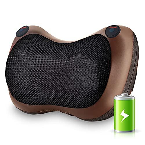 Cuscino Massaggiante Shiatsu, 3 Velocità Massaggiatore Cervicale Ricaricabile senza fili con calore, per la Schiena Spalle Gambe Collo, Casa Ufficio e Auto Uso