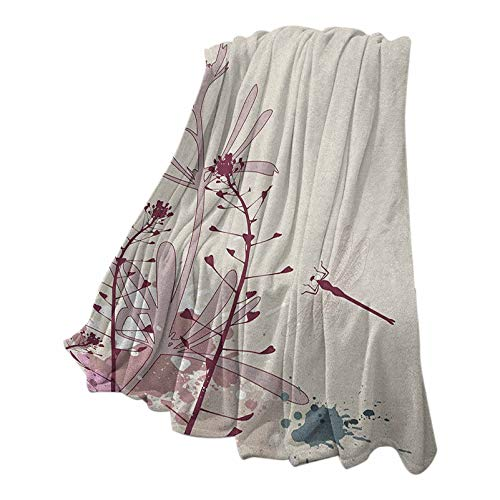 Anmaseven Dragonfly Quality Blanket for Sofa Chair Bed Grunge Style Design Flowers Leaves and Bugs Flies Wings Image Pale Pink Burgundy and Blue 60' W x 80' L