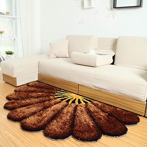 Groshops Blumenform Fächerförmigen Teppich Wohnzimmer Sofa Schlafzimmer Nacht Stretch Seidenmatte rutschfeste Wasseraufnahme-Brown Badematte