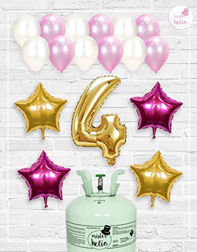 Bombona de Helio Mrhelio+Globos cumpleaños Niña números (Cumple niña 4 años)